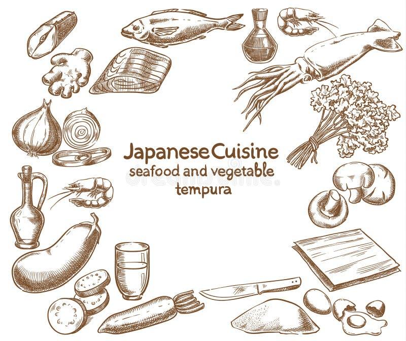 giapponese Ingredienti della tempura della verdura e dei frutti di mare illustrazione vettoriale