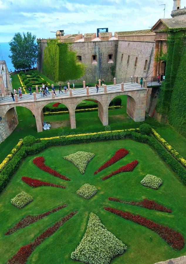 Giardini del castello di Montjuic immagine stock