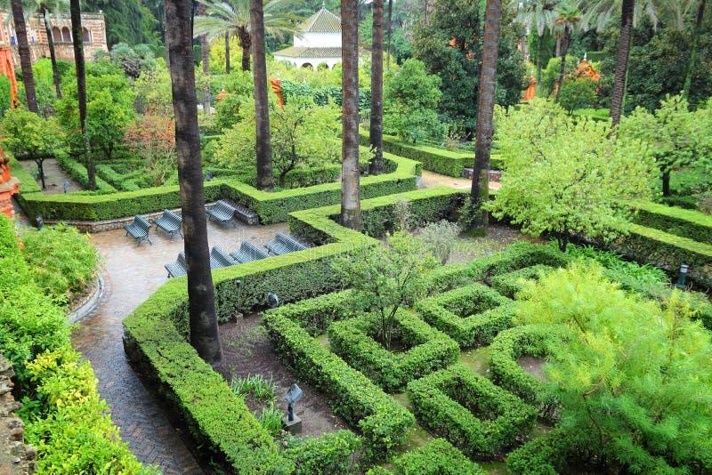 Giardini di alcazar di Siviglia immagini stock libere da diritti