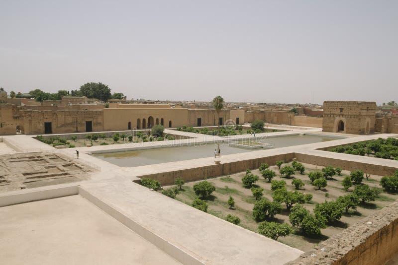Giardini di EL Badi Palace a Marrakesh fotografie stock libere da diritti