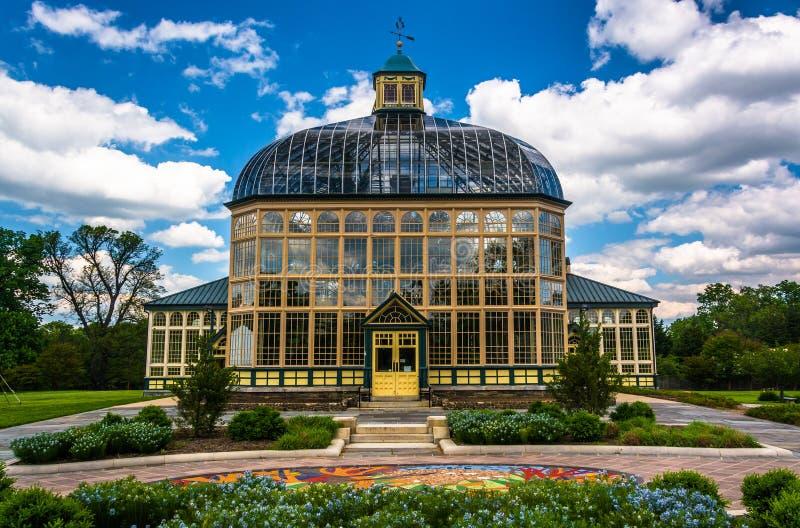 Giardini e Howard Peters Rawlings Conservatory in druido Hil fotografia stock
