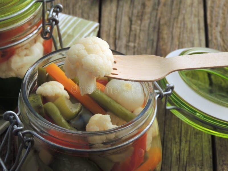 Giardiniera Włoscy mieszanek warzywa w occie fotografia stock
