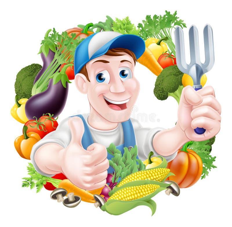 Giardiniere della verdura del fumetto royalty illustrazione gratis