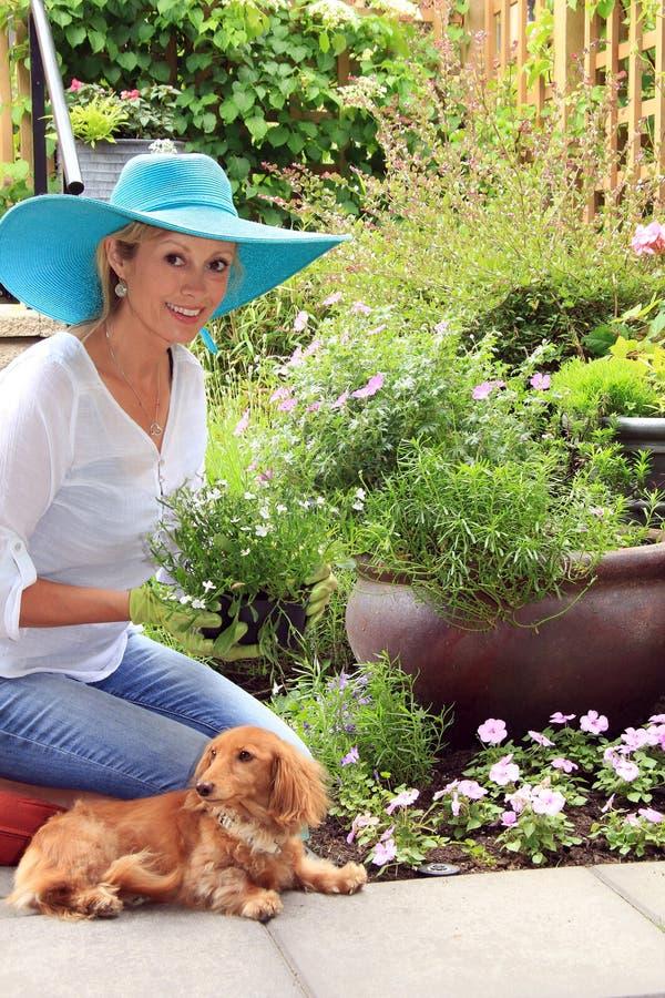 Giardiniere di signora con il cane immagine stock