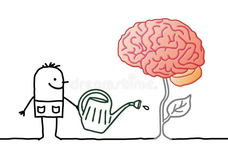 Giardiniere Watering del fumetto un nuovo cervello fresco immagine stock libera da diritti