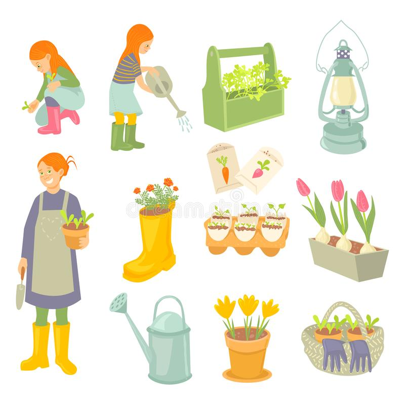 Giardinieri delle figlie e della madre Impianti del giardino della primavera messi immagine stock