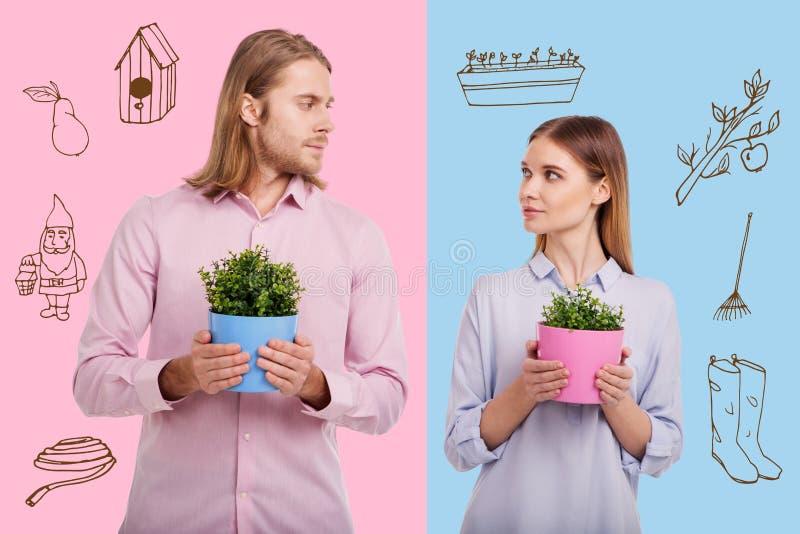Giardinieri professionisti che se esaminano mentre stando con i vasi da fiori immagine stock