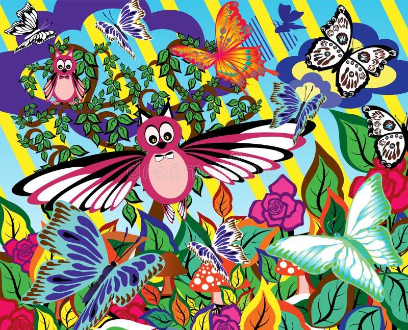 Giardino astratto Fondo con differenti siluette di fauna, dei fiori e degli alberi illustrazione di stock
