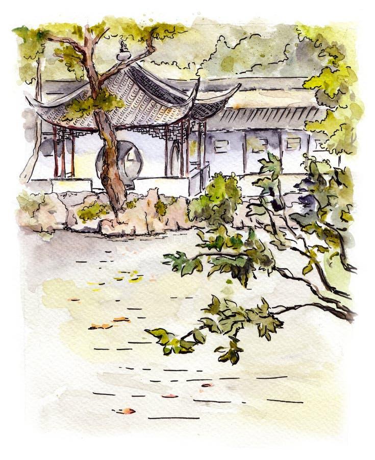 Giardino cinese con la pagoda a Suzhou, Cina watercolor royalty illustrazione gratis