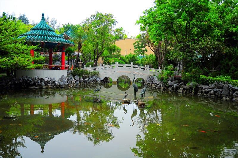 Giardino cinese con la passerella fotografia stock for Giardino cinese