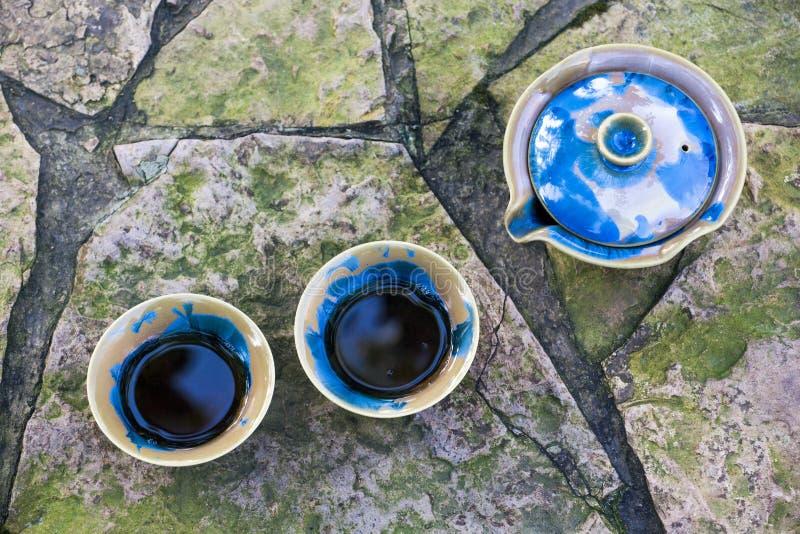 Giardino cinese nero di autunno del tè fotografia stock