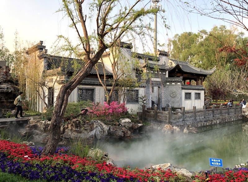 Giardino classico cinese, architetture cinesi, cultura cinese, esposizione orticola internazionale 2019 di Pechino fotografie stock libere da diritti