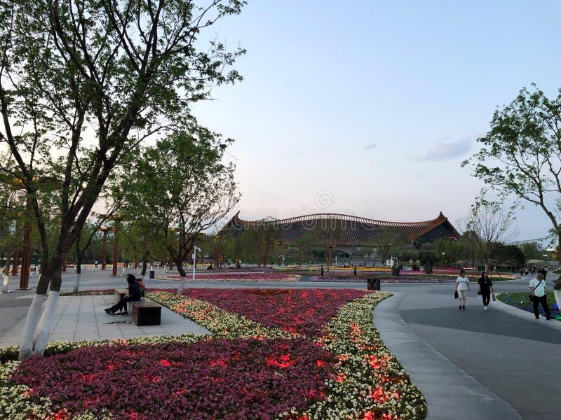 Giardino classico cinese, architetture cinesi, cultura cinese, esposizione orticola internazionale 2019 di Pechino immagine stock