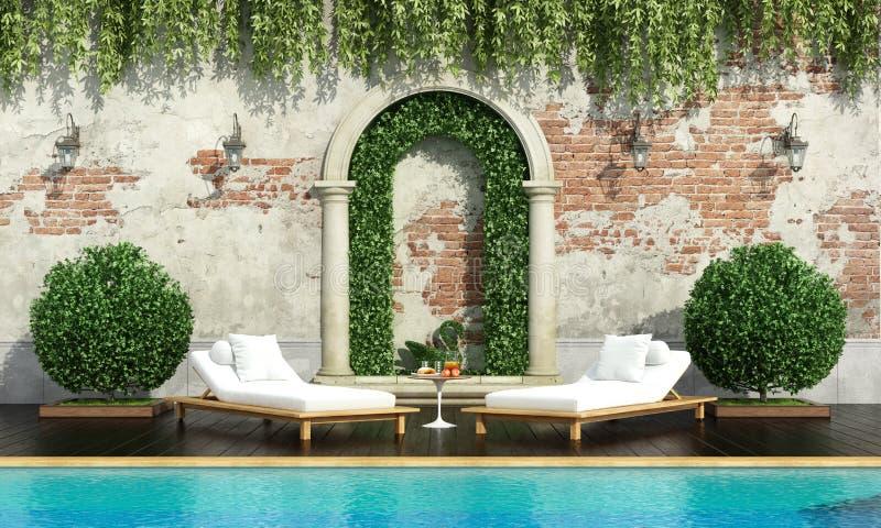 Giardino classico con lo stagno royalty illustrazione gratis