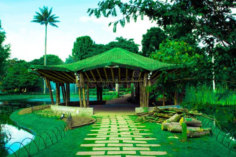 Giardino con il chiosco sull'ambiente tropicale immagine stock