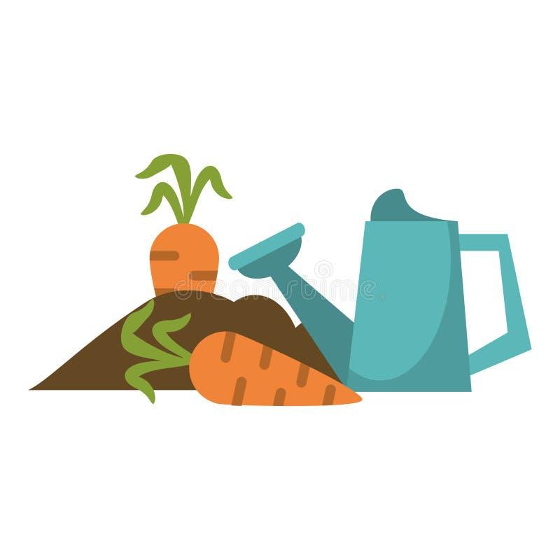 Giardino con le carote e la latta dell'acqua illustrazione vettoriale