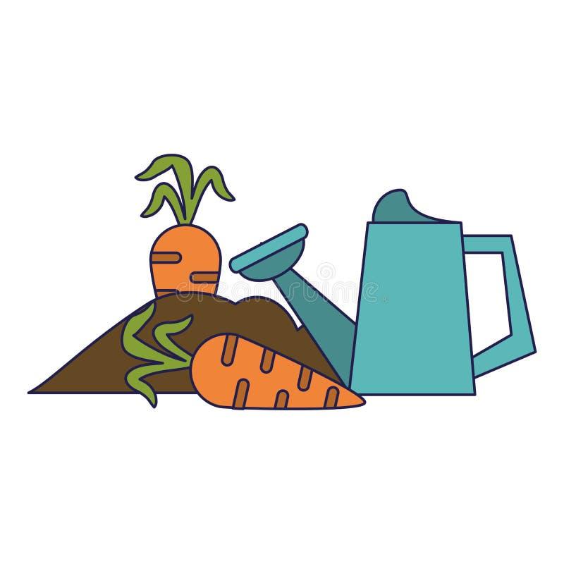 Giardino con le carote e le linee blu della latta dell'acqua illustrazione di stock