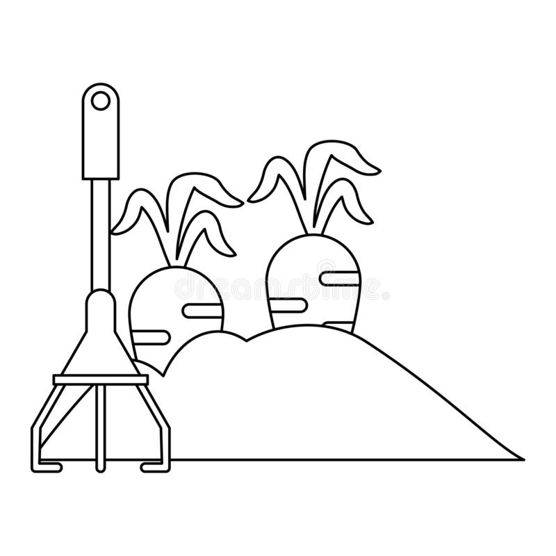 Giardino con le carote ed il rastrello in bianco e nero illustrazione di stock