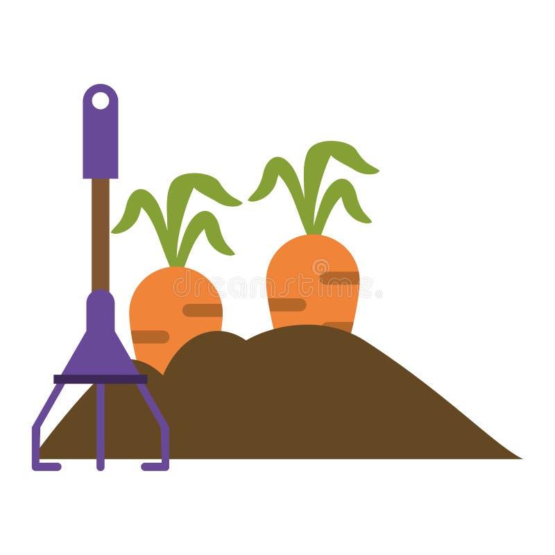 Giardino con le carote ed il rastrello royalty illustrazione gratis