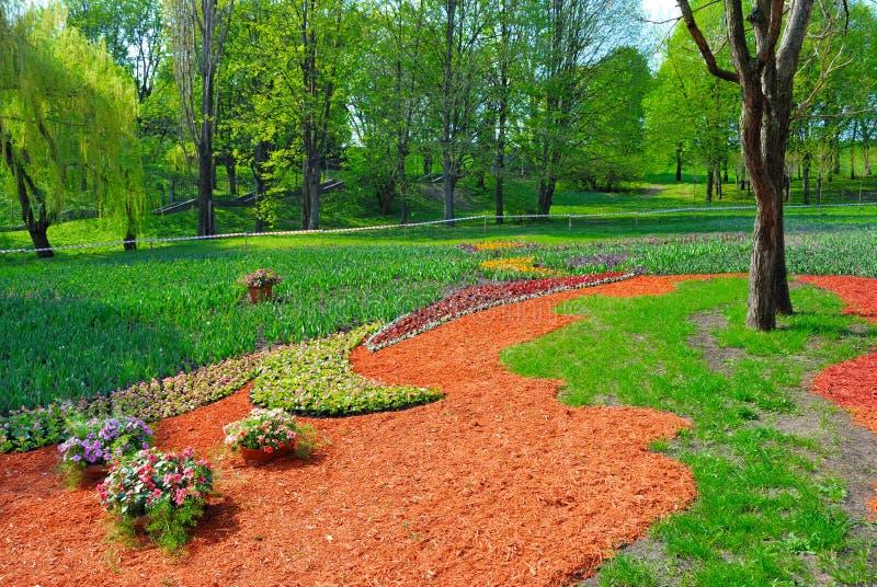 Giardino decorato con i fiori su erba fotografia stock for Giardino con fiori