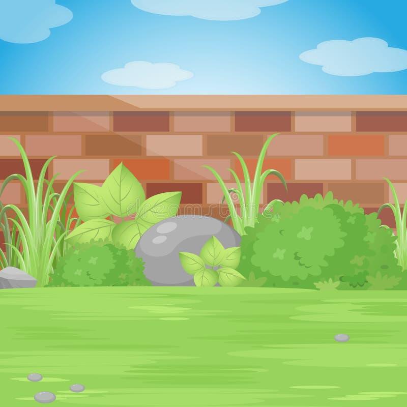 Giardino del cortile con la parete di mattoni Illustrazione di vettore royalty illustrazione gratis
