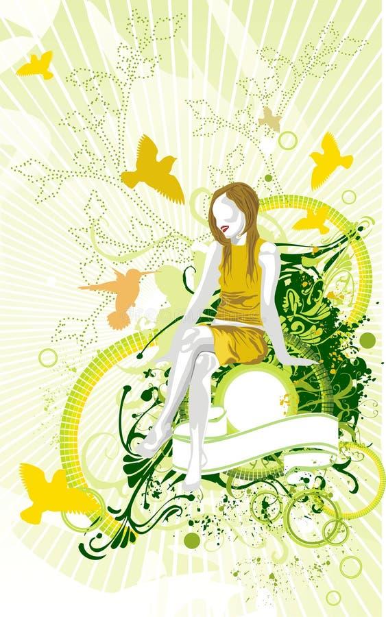 Giardino della donna & della sorgente di bellezza illustrazione vettoriale