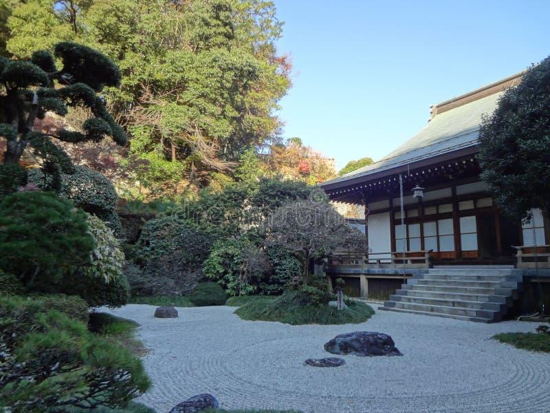 Giardino della pietra di zen al tempio di Hokokuji fotografia stock libera da diritti