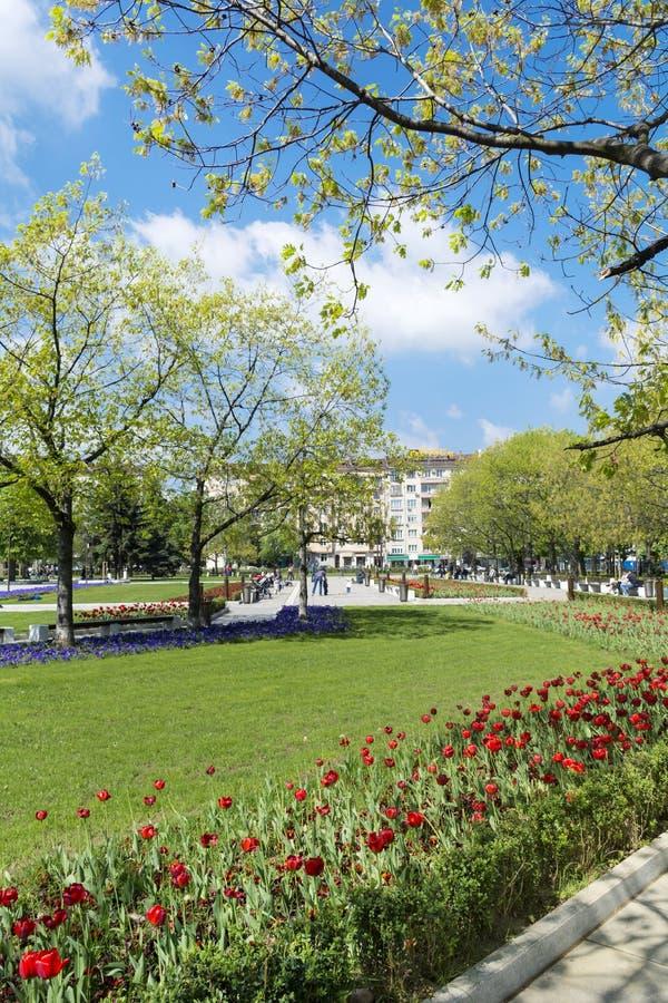 Giardino della primavera con i tulipani davanti al palazzo nazionale di cultura, Sofia, Bulgaria immagini stock