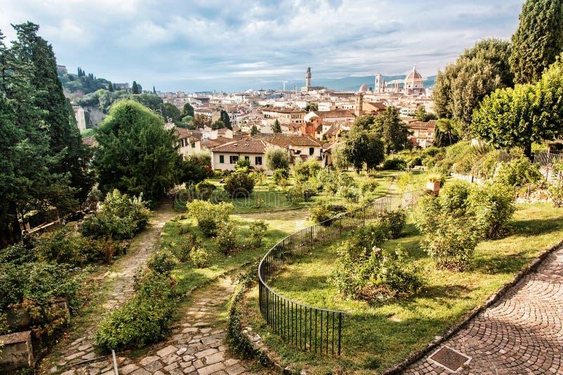 从Giardino delle罗斯的看法对市佛罗伦萨,托斯卡纳, 图库摄影
