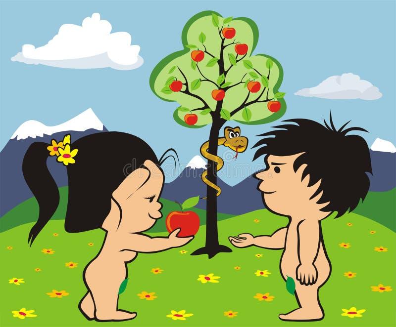Giardino di eden - di adam e della vigilia royalty illustrazione gratis