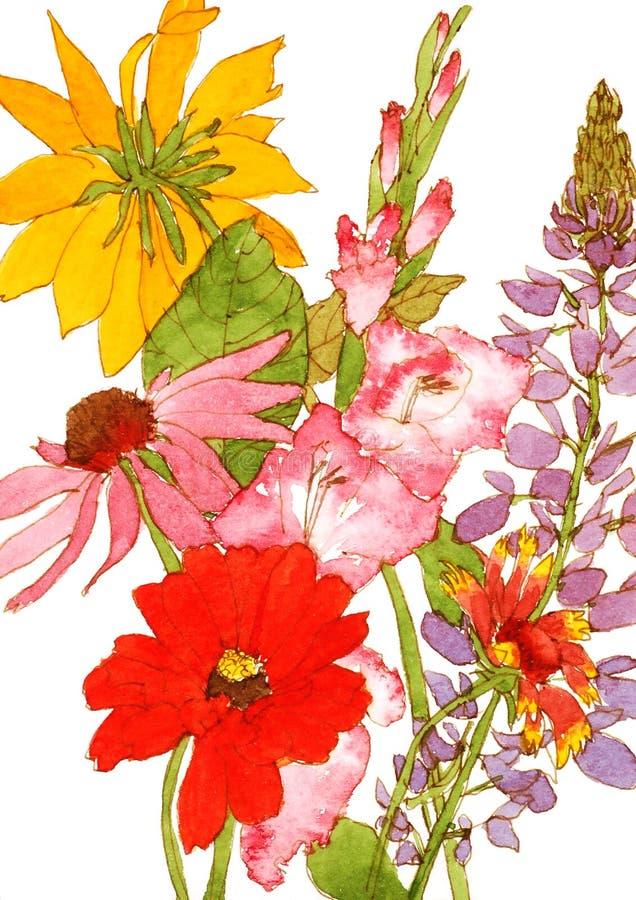 Giardino di fiore del mazzo illustrazione di stock for Disegni del mazzo del cortile