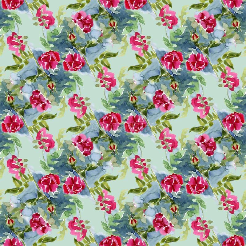 Giardino di fioritura Selvaggio rosso è aumentato Bello, con il modello senza cuciture dell'acquerello di molti dettagli Grande p illustrazione vettoriale