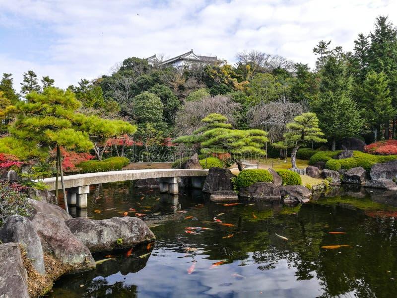 Giardino di Kokoen con il castello di Himeji immagini stock
