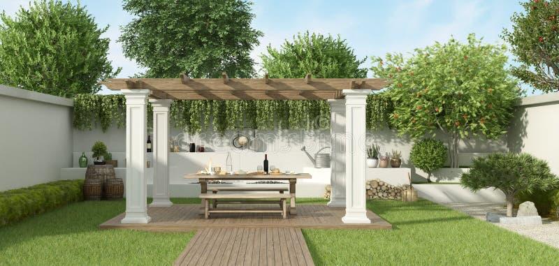 Giardino di lusso con il gazebo illustrazione vettoriale