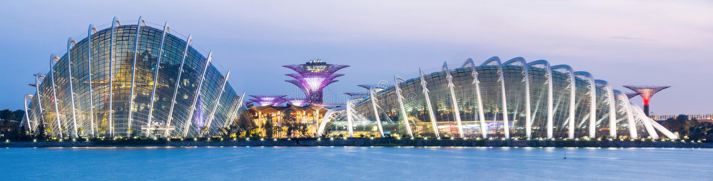 Giardino di Singapore di panorama dalla baia fotografia stock