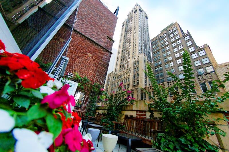 Giardino e grattacieli del terrazzo immagini stock