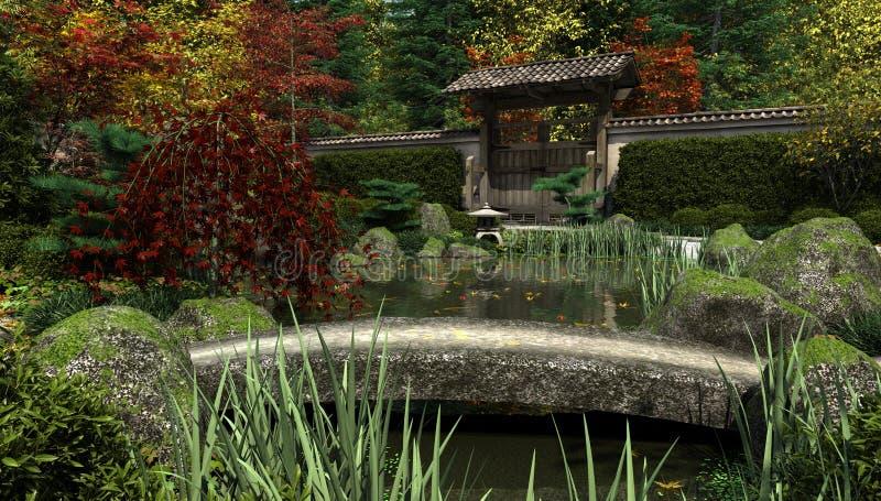 Giardino e stagno giapponesi di Koi, autunno illustrazione di stock