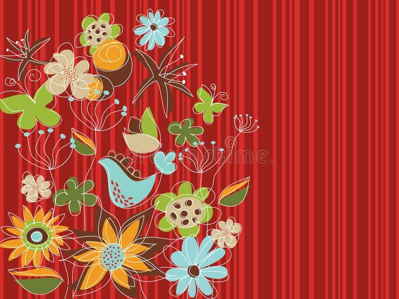 Giardino floreale rosso di stile libero illustrazione di stock