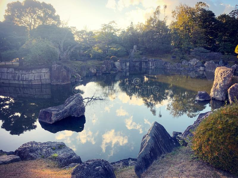 Giardino giapponese a Kyoto fotografia stock