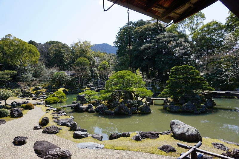 Giardino giapponese in tempio di Daigoji, Kyoto fotografia stock