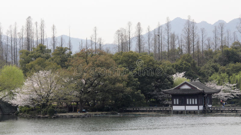 Giardino in lago ad ovest di Hangzhou, Cina fotografia stock libera da diritti