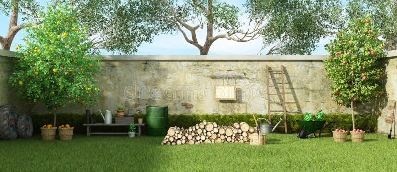 Giardino rurale in un giorno soleggiato royalty illustrazione gratis