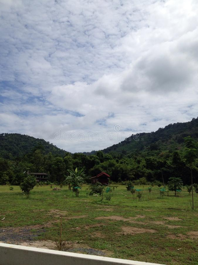 Giardino vicino alle montagne immagine stock