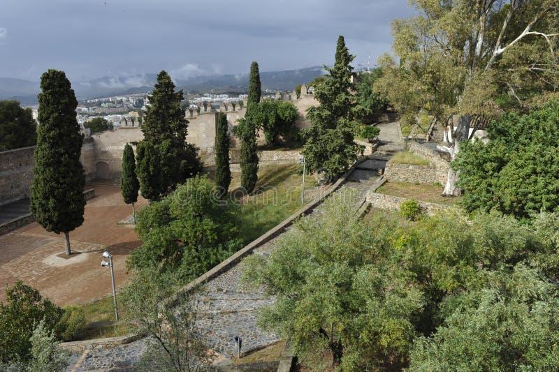 Gibralfaro fästning av Malaga, Spanien royaltyfria foton