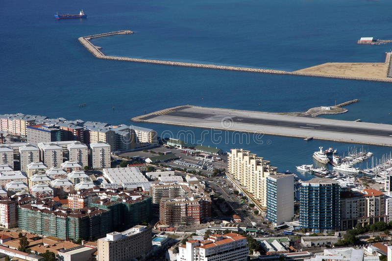 Aerial view of Gibraltar royalty free stock photography