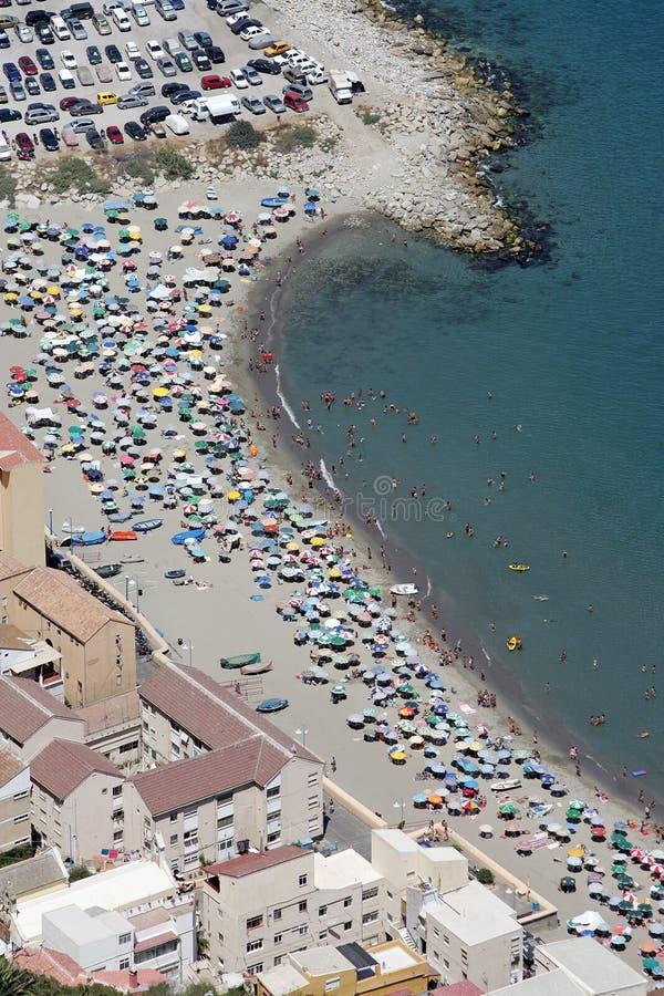Gibraltar anteny wzrok na plaży obrazy royalty free