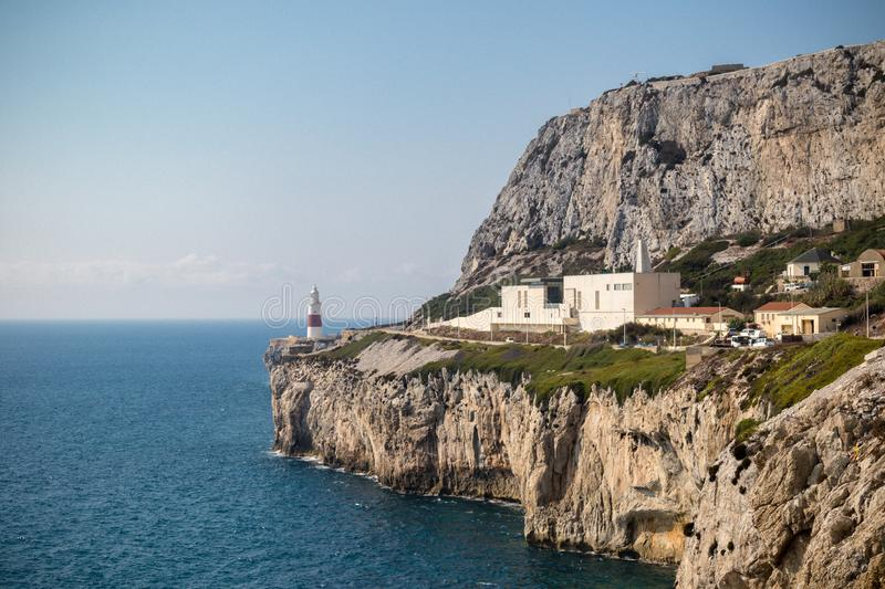 Gibraltar crematorium East side of the Rock. Gibraltar, United Kingdom, 2nd October 2018:-Gibraltar crematorium with Europa Point lighthouse in the background stock photos