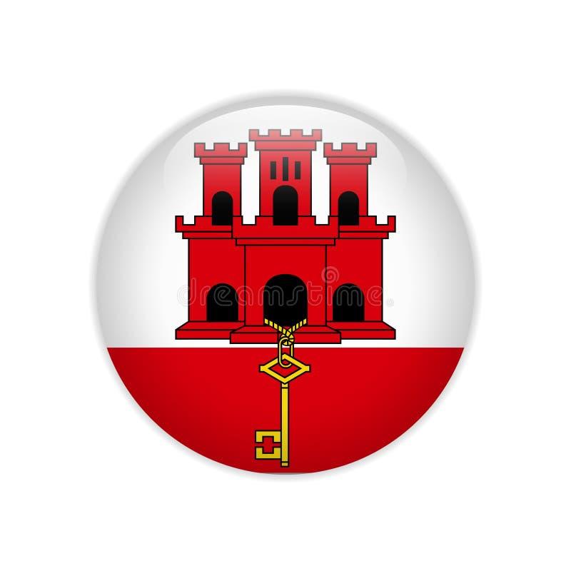 Gibraltar flaga na guziku ilustracji