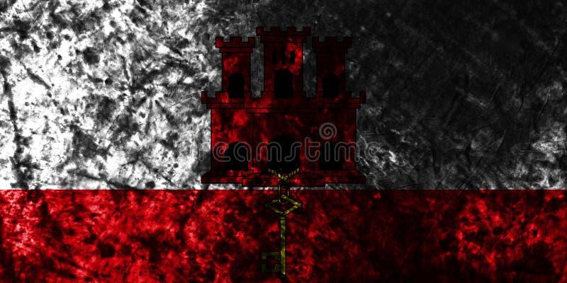 Gibraltar grungeflagga på den gamla smutsiga väggen, beroende territorium flagga för brittiska utländska territorier, Britannien stock illustrationer
