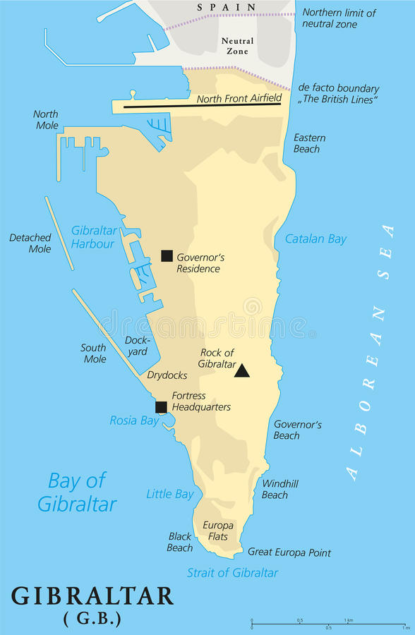 gibraltar mapa Gibraltar Political Map stock vector. Illustration of british  gibraltar mapa